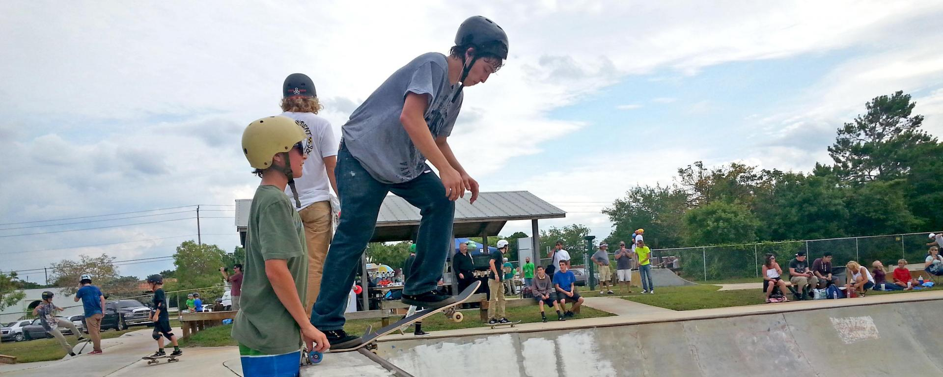 Teens enjoying Martin County Parks and Recreation Skate Parks.