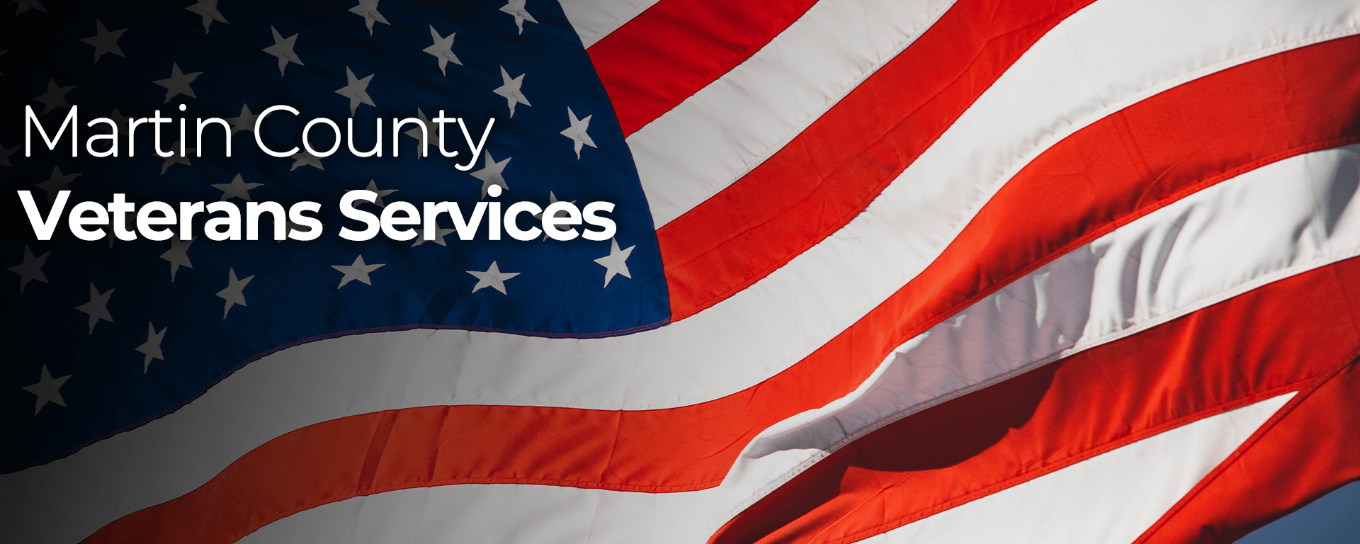 Martin County Veterans Services and American flag