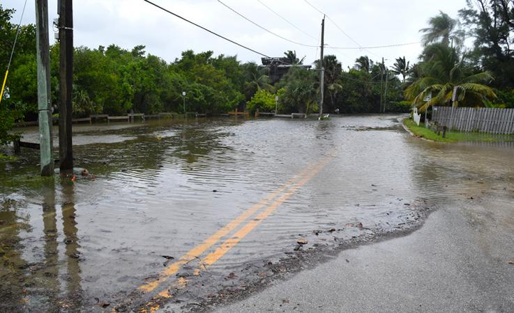 A flooded roadway in Martin County due to King Tides