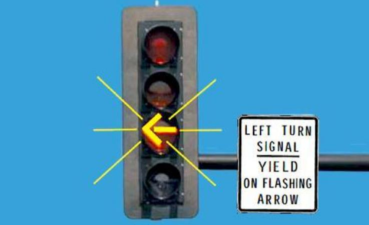 Traffic signal with a flashing yellow left-turn arrow