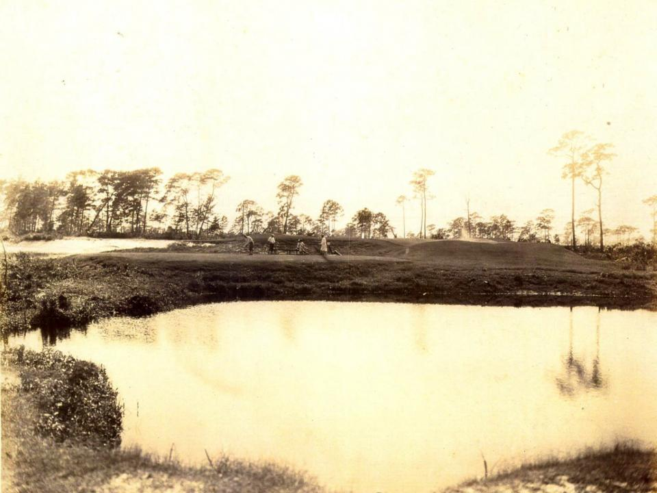 Golf course historical photo showing the old course