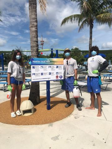 Lifeguards wearing PPE