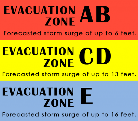 Evacuation zone AB is for forecasted storm surge of up to 6 feet. Evacuation zone CD is for forecasted storm surge of up to 13 feet. Evacuation zone E is for forecasted storm surge of up to 16 feet.