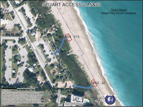 Map of Stuart Beach Campfire Sites