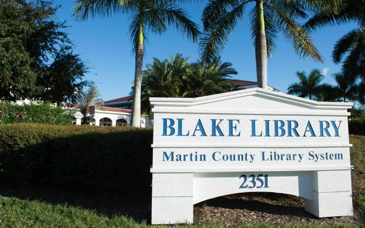 Image of the Blake Library address sign