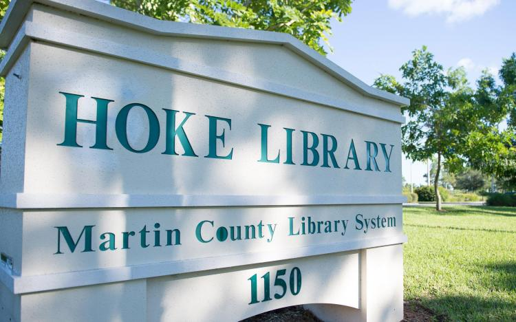 Image of the Hoke Library address sign