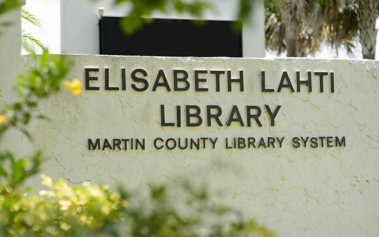 Image of the elisabeth Lahti Library address sign