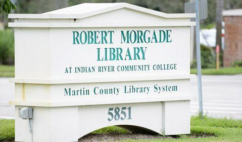 image of the Robert Morgade Library address sign