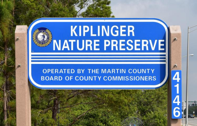 The signage at Kiplinger Nature Preserve