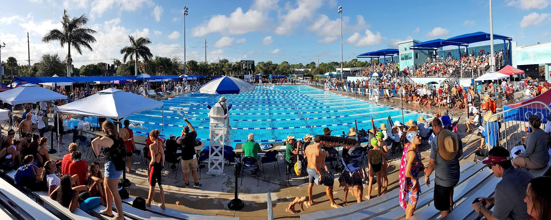 A competitive swim meet at Sailfish Splash Waterpark
