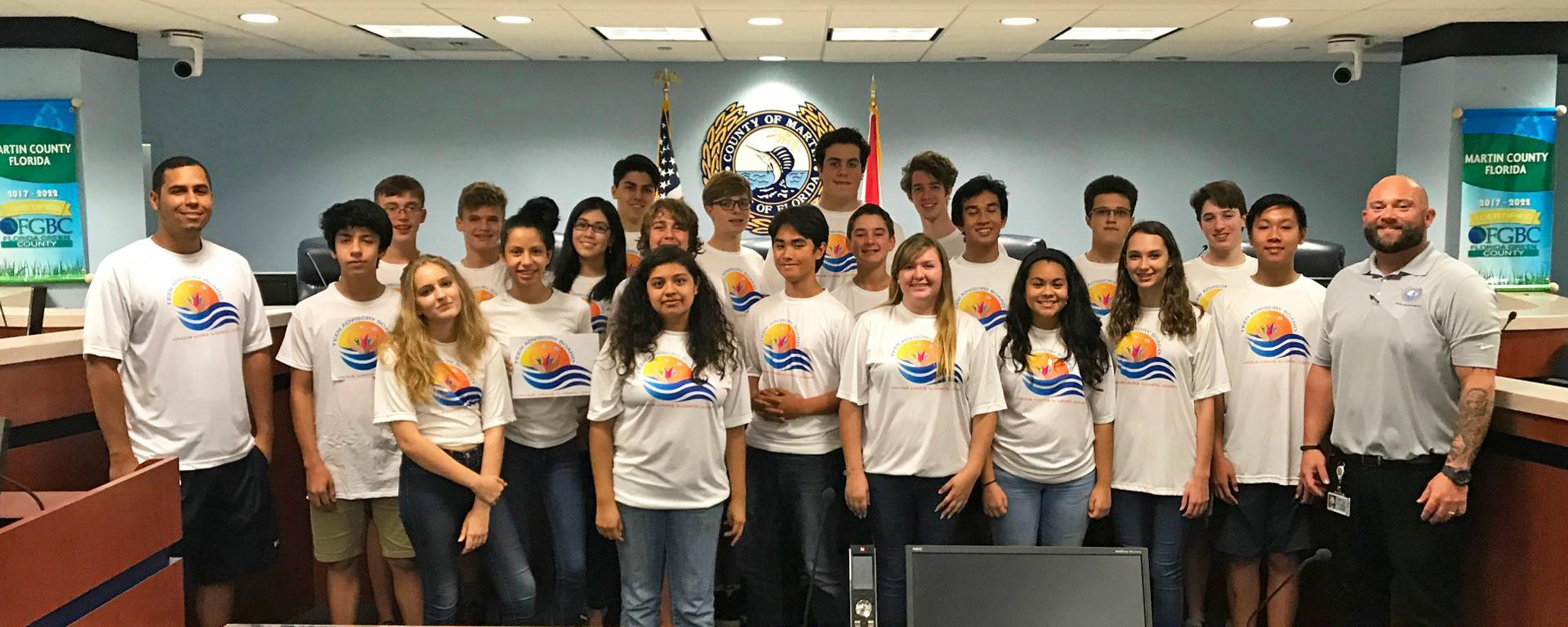 Teens meeting for the Teen Advisory Board meeting at the County Administration Building.