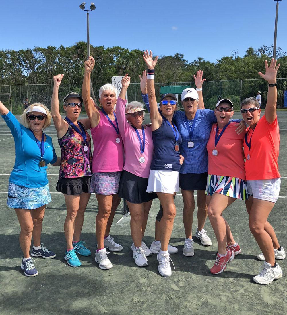 Martin County Senior Games ladies tennis participants.