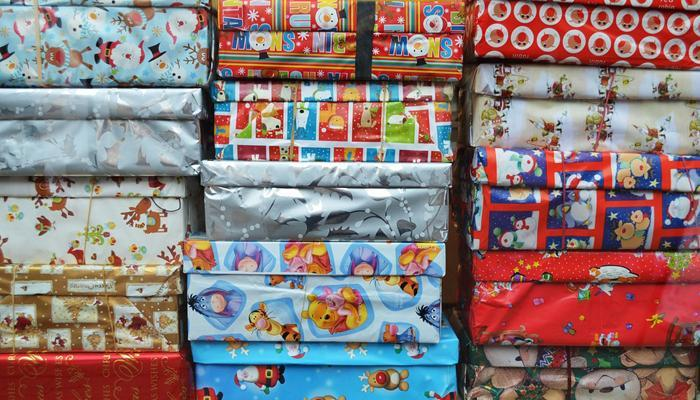 Gift boxes wrapped in wrapping paper